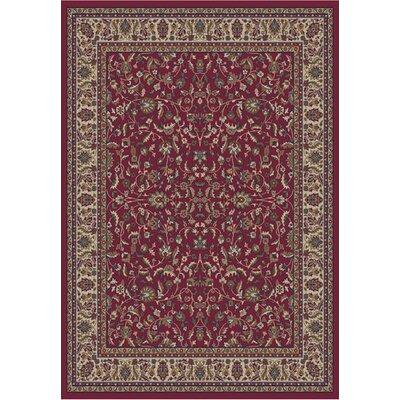 Jewel Kashan Red Area Rug Rug Size: 53 x 77