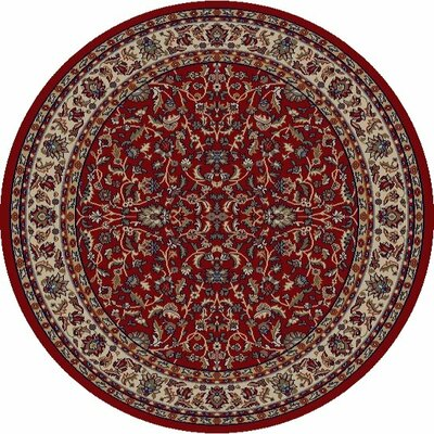 Jewel Kashan Red Area Rug Rug Size: Round 5'3