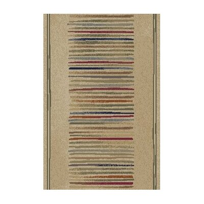 Jewel Ivory Stripes Area Rug Rug Size: Runner 2'3