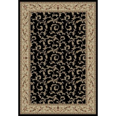 Jewel Veronica Black Floral Area Rug Rug Size: 53 x 77