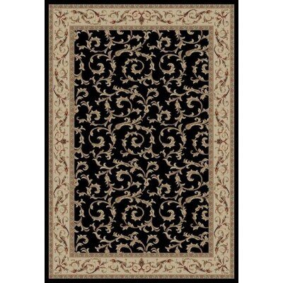 Jewel Veronica Black Floral Area Rug Rug Size: 93 x 126