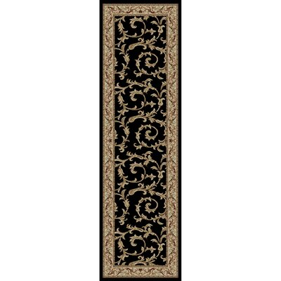 Jewel Veronica Black Floral Area Rug Rug Size: Runner 23 x 77