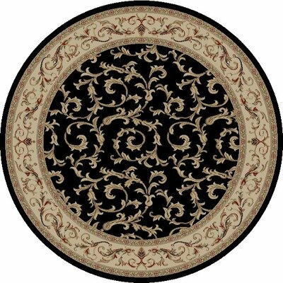 Jewel Veronica Black Floral Area Rug Rug Size: Round 53