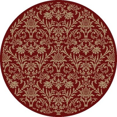 Jewel Damask Red Area Rug Rug Size: Round 53