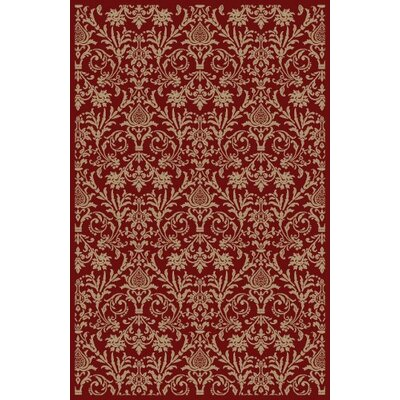 Jewel Damask Red Area Rug Rug Size: 67 x 93