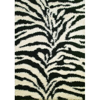 Shaggy Zebra Black & White Area Rug Rug Size: Rectangle 67 x 93