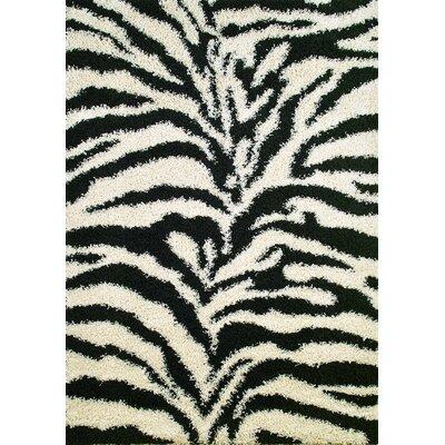 Shaggy Zebra Black & White Area Rug Rug Size: 67 x 93
