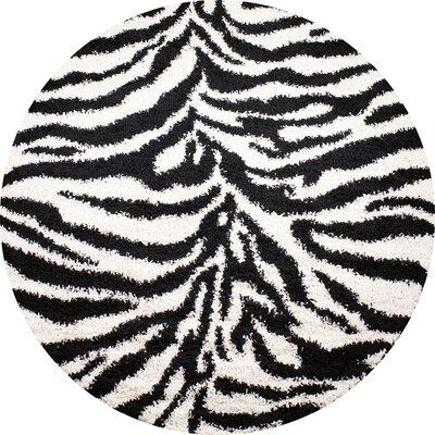 Shaggy Zebra Black & White Area Rug Rug Size: Round 67