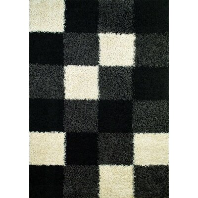 Shaggy Blocks Black Area Rug Rug Size: Rectangle 67 x 93