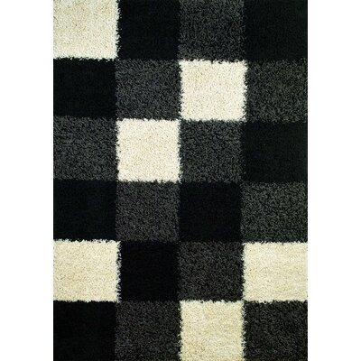 Shaggy Blocks Black Area Rug Rug Size: 33 x 47