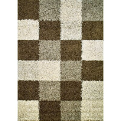 Shaggy Blocks Natural Area Rug Rug Size: 67 x 93