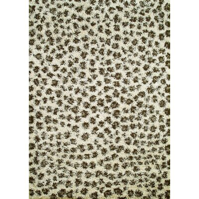 Shaggy Leopard Ivory Area Rug Rug Size: Rectangle 67 x 93