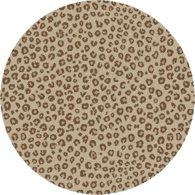 Shaggy Leopard Ivory Area Rug Rug Size: Round 67