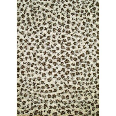 Shaggy Leopard Ivory Area Rug Rug Size: 67 x 93