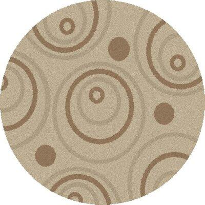 Shaggy Circles Natural Area Rug Rug Size: Round 67