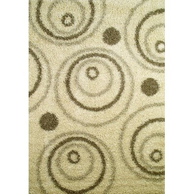 Shaggy Circles Natural Area Rug Rug Size: 5 x 7