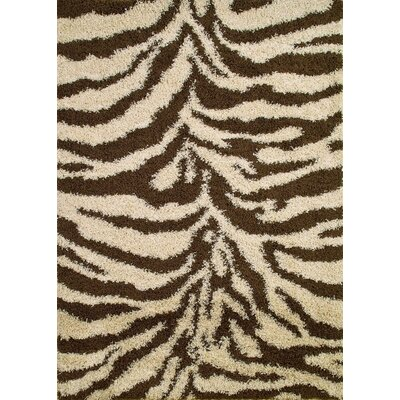 Shaggy Zebra Brown & Tan Area Rug Rug Size: 67 x 93