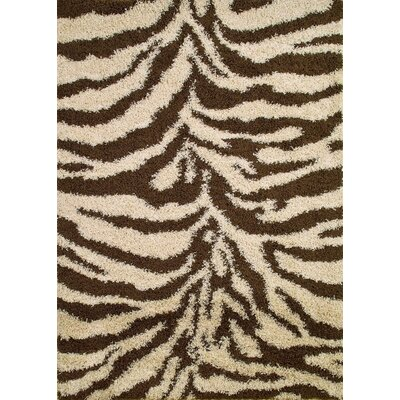 Shaggy Zebra Brown & Tan Area Rug Rug Size: 33 x 47