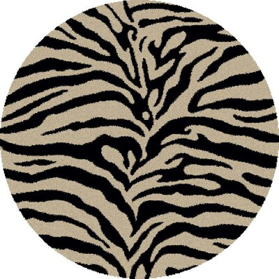 Shaggy Zebra Brown & Tan Area Rug Rug Size: Round 67