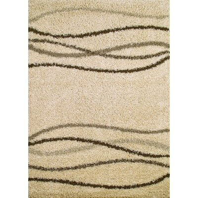 Shaggy Waves Natural Area Rug Rug Size: 67 x 93