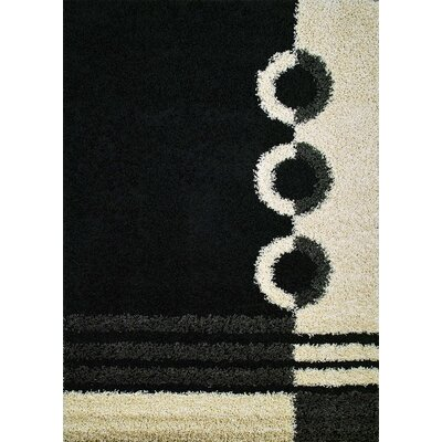 Shaggy Rings Black Area Rug Rug Size: 33 x 47