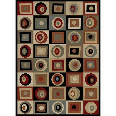 Soho Tribeca Rounds and Squares Brown Area Rug Rug Size: 710 x 1010