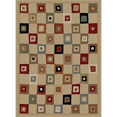 Soho Tribeca Village Squares Ivory Area Rug Rug Size: 53 x 73