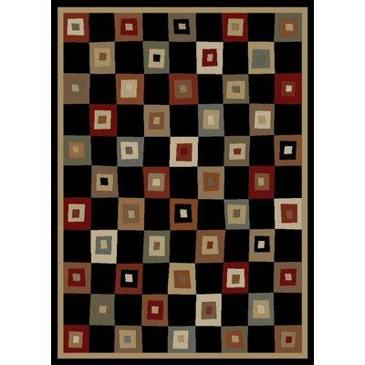 Soho Tribeca Village Squares Black Area Rug Rug Size: 53 x 73