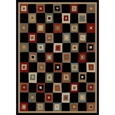 Soho Tribeca Village Squares Black Area Rug Rug Size: 710 x 1010