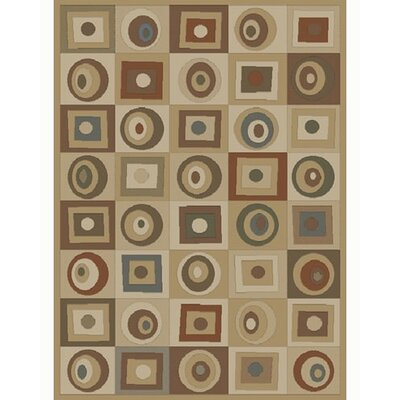 Soho Tribeca Rounds and Squares Tan Area Rug Rug Size: 53 x 73