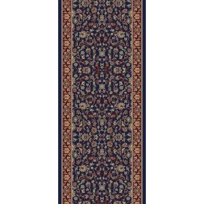 Jewel Kashan Navy Area Rug Rug Size: Runner 23 x 77
