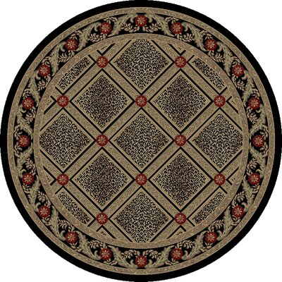 Imperial Charlemagne Black Diamond Leopard Area Rug Rug Size: Round 53