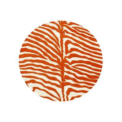 Tylersburg Hand-Woven Orange Area Rug Rug Size: Round 6