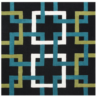 Jacob Hand-Woven Black Area Rug Rug Size: Square 6