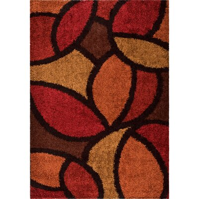 Burgess Red Area Rug Rug Size: 53 x 76