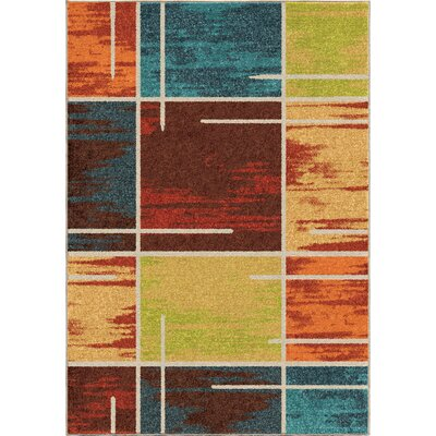 Rushford Red/Blue Area Rug Rug Size: 53 x 76