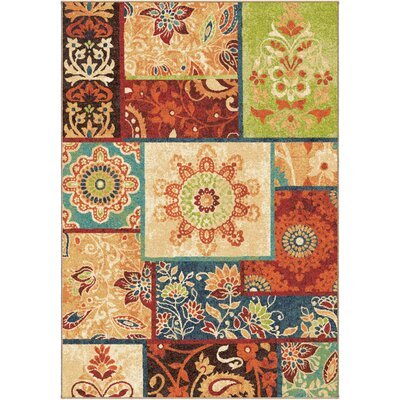 Clarence Brown/Red Area Rug Rug Size: 53 x 76