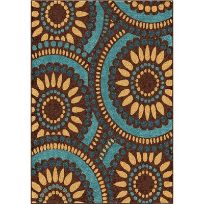 Kincaid Yellow/Blue Area Rug Rug Size: 52 x 76
