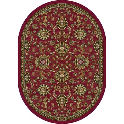 Treadway Red Area Rug Rug Size: Oval 53 x 73