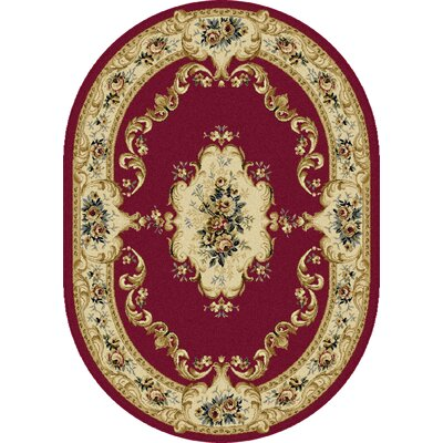 Colesville Red Area Rug Rug Size: Oval 53 x 73