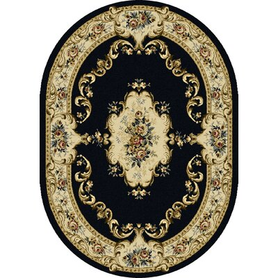 Colesville Charcoal Area Rug Rug Size: Oval 53 x 73