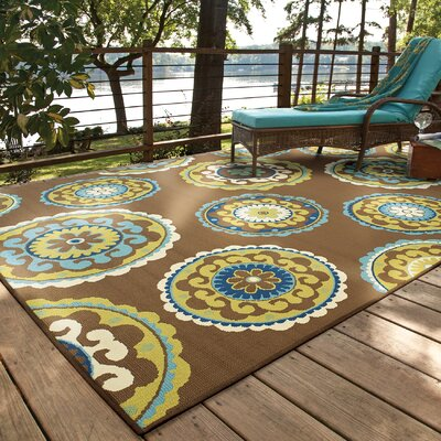 Newfield Brown/Green Indoor/Outdoor Area Rug Rug Size: 53 x 76
