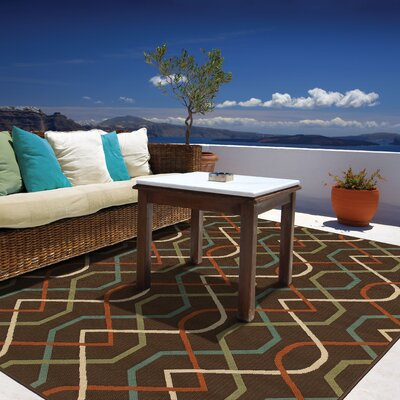 Newfield Brown/Ivory Indoor/Outdoor Area Rug Rug Size: Rectangle 37 x 56