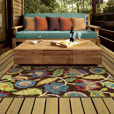 Gilson Brown Indoor/Outdoor Area Rug Rug Size: Rectangle 52 x 76
