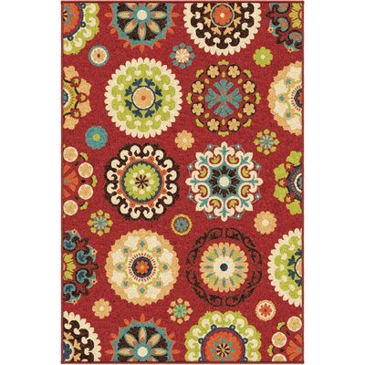 Tyson Hubbard Brick Red Indoor/Outdoor Area Rug Rug Size: 52 x 76