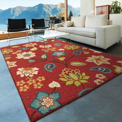 Lymon Red Indoor/Outdoor Area Rug Rug Size: 52 x 76