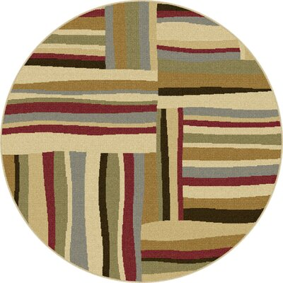 Colesville Red/Brown Area Rug Rug Size: Round 53