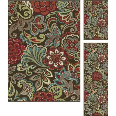 Brightling 3 Piece Brown Area Rug Set