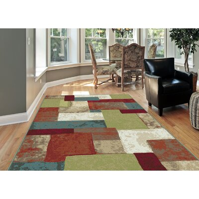 Wilner 3 Piece Red/Green Area Rug Set