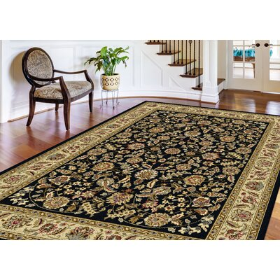 Larios Black/Beige Area Rug Rug Size: Rectangle 93 x 125